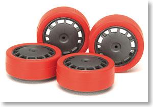 #94873 - Red Low-Profile Tire & Dark Silver Wheel Set (Dish)